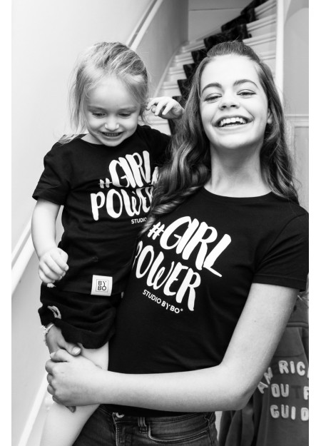 KIDS TEE GIRL POWER BLACK