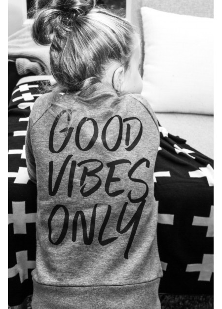 KIDS SWEATER GOOD VIBES MID HEATHER GREY
